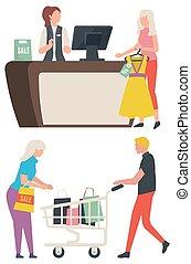 odzież, wektor, zbiór, pakunek, sprzedaż, kupować, stary