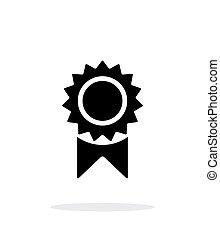 odznaka, ikona, prosty, tło., biały