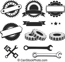 odznaka, komplet, służba, auto, emblemat, logotype, garaż, element, wóz naprawa, mechanik