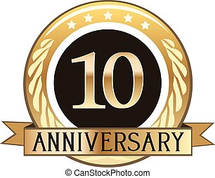 odznaka, rocznica, dziesięć, rok
