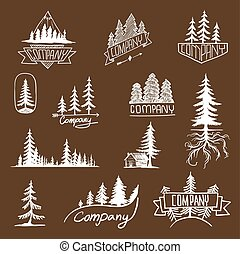 odznaka, wektor, drzewo las, zbiór