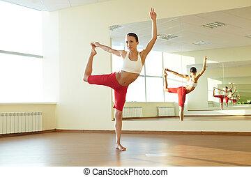 oefening, op, strestching