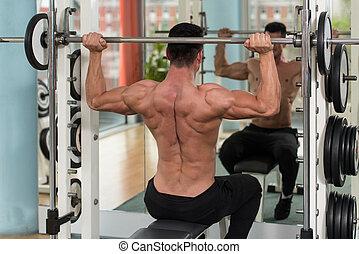 oefening, schouders, mannelijke , gewicht, bodybuilder, zware