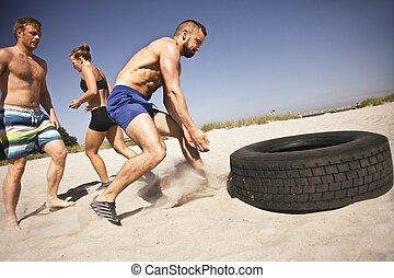 oefening, strand, crossfit, vermoeien, tik