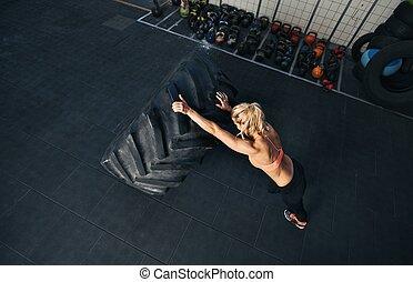 oefening, vrouw, crossfit, passen, jonge
