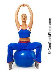 Oefening, vrouw, jonge, Bal,  fitness