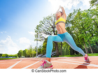 Oefening, vrouw, Sportief, stadion,  Stretching
