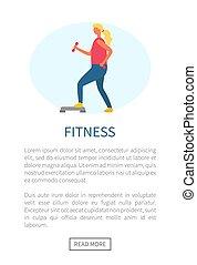 oefening, webpage, vector, fitness, meisje, sportende