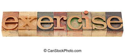 oefening, woord, in, letterpress, type