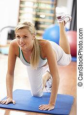 oefeningen,  Gym, vrouw, jonge,  Stretching