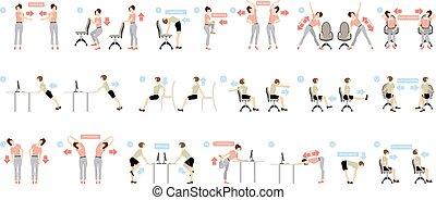 oefeningen, kantoor., sportende