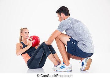 oefeningen, vrouw, abs