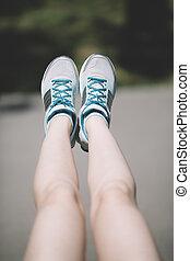 oefeningen, vrouw, jonge, been