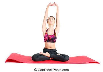 oefeningen, vrouw, jonge, sportief