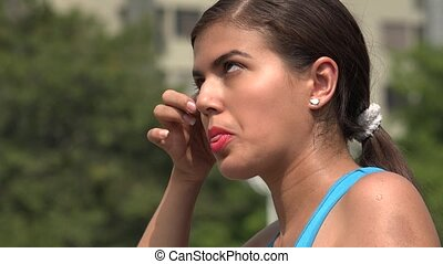 oeil, allergie, jeune, femme, irritation, ou