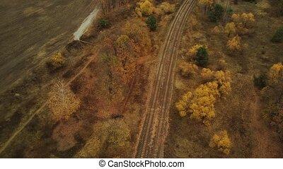 oeil, arbres, campagne, ferroviaire, nuageux, rail, champ, ...