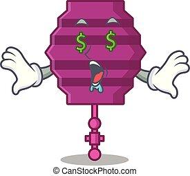 oeil, argent, lanterne papier, dessin animé, mascotte