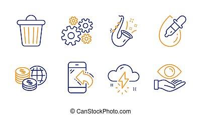 oeil, argent, orage, signs., gouttes, temps, casier, entrant, déchets ménagers, appeler, vecteur, set., icônes, jazz, mondiale