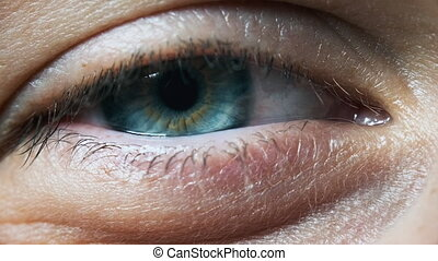 oeil, beau, fille, sight., vue, détail, extrême, oeil, close...