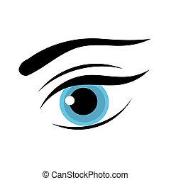 oeil bleu, femme