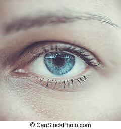 oeil bleu, femme, macro., vecteur