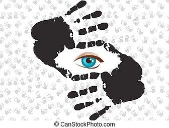 oeil bleu, frame., main, regarder travers, vous
