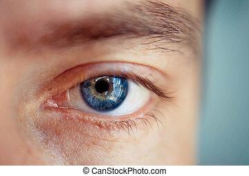 oeil bleu, homme