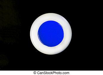 oeil bleu, isolé, noir, poudre, fond, ombre