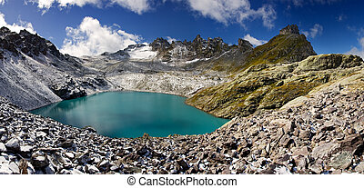 oeil bleu, -, lac, wildsee, suisse