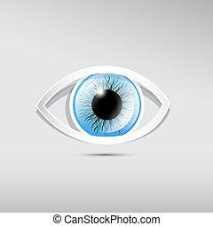 oeil bleu, résumé, gris, papier, vecteur, fond