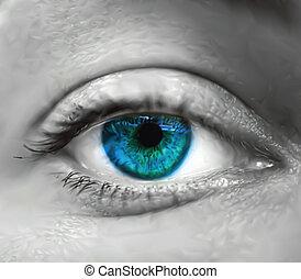 oeil bleu, vecteur, macro., femme