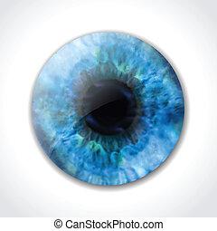 oeil bleu, vecteur, macro., pupille