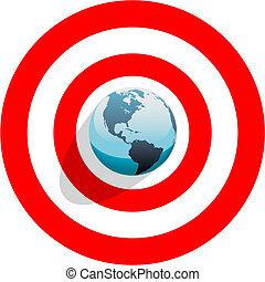 oeil, centre, taureaux, la terre, mondiale, rouges, cible