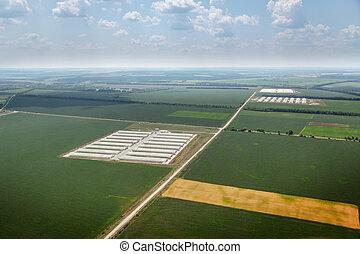 oeil, champs, fermes, routes, oiseaux, vue
