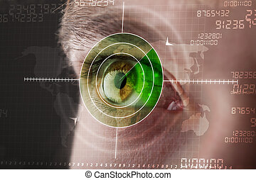 oeil, cible, moderne, cyber, militaire, technologie, homme