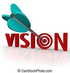 oeil, cibler, taureau, perspective, flèche, mot, unique, vision