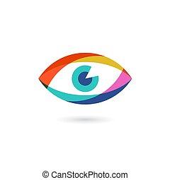 oeil, coloré, globe oculaire, illustration, vecteur, ou, icône