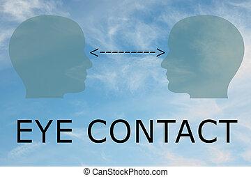 oeil, concept, contact
