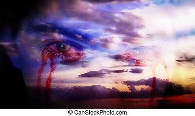 oeil, défaillance, nuages, sanguine, temps