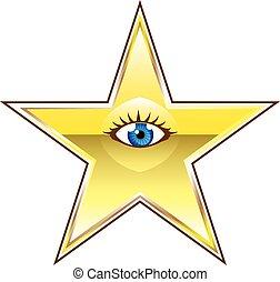 oeil, doré, étoile