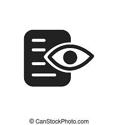 oeil, et, papier, données, analyse, icône