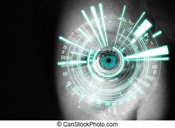 oeil femme, il, interface, numérique, devant