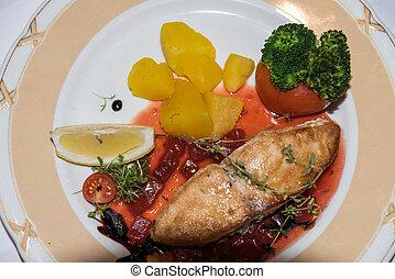 oeil, fish, -, délicieux, plat, oiseaux, vue