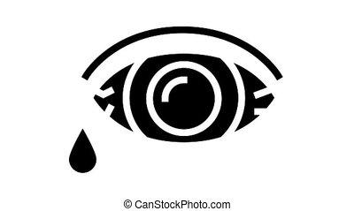 oeil, glyph, larmes débordantes, icône, animation
