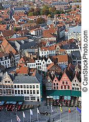 oeil, -, grote, markt, brugge, oiseaux, vue