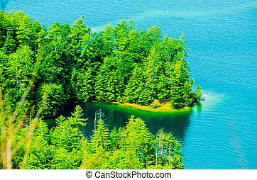 oeil, lac, jocassee, paysages, oiseaux, vue