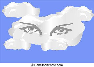 oeil, nuage