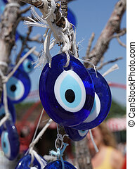 oeil, pendre, arbre, bleu, mal