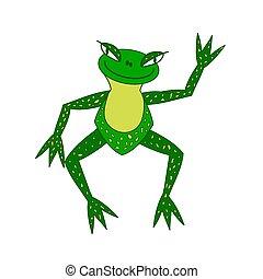 oeil, plus grand, illustration, grenouille, vert, joyeux
