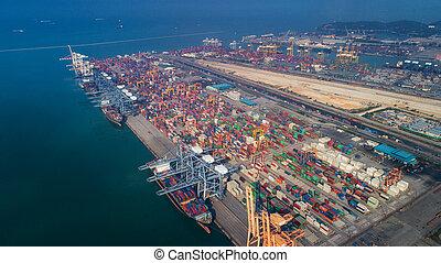 oeil, port, logistique, laem, chabang, oiseau, paysage, vue